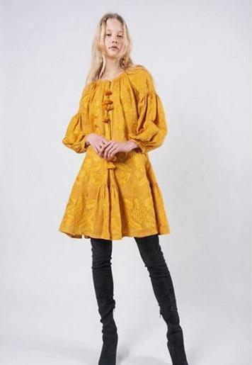 Bordado Ocre Vestido  Boho Style-ucraniano Folk étnico Vyshyvanka. todos Los Tamaños  ganancia cero