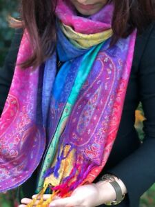 Ladies-Long-Bright-Rainbow-Multi-Colour-Paisley-Scarf-Pashmina-Scarves-Shawl
