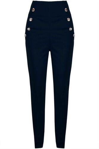 Womens Ladies Stretchy Skinny Front Buttons Pocket High Waisted Trouser Leggings