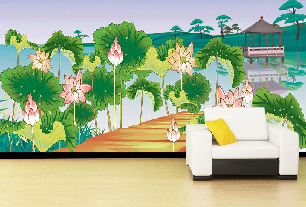 3D Teich Lotos Blatt 7877 Tapete Wandgemälde Tapeten Bild Familie DE Lemon
