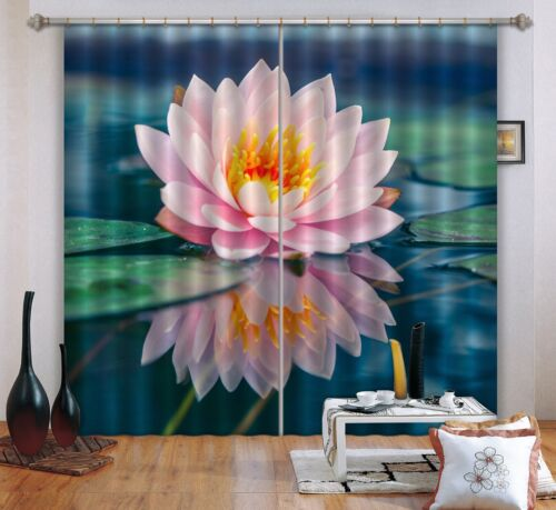 3D Pink lotus 0 Blockout Photo Curtain Printing Curtains Drapes Fabric Window AU