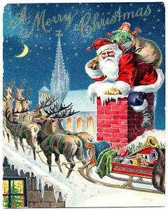 Santa Christmas Chimney Vintage Advertising Enamel Metal Tin Sign