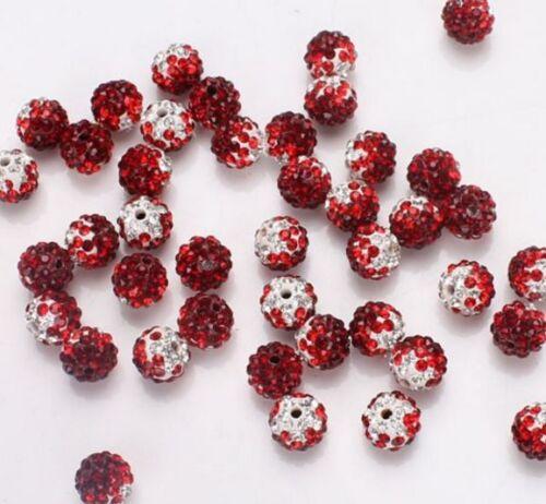100pcs//lot 10 mm Disco Mixte changement de pente Coloré Cristal Shamballa Perles