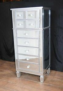 Image Is Loading Art Deco Mirror Chest Drawers Tall Boy Mirrored