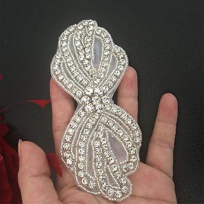 Rhinestone Wedding Trim Costume Motif Diamante Flower Evening Dress DIY Applique