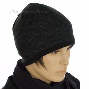 VAN HEUSEN Men s Winter HERRINGBONE BLACK   GRAY BEANIE HAT Fleece ... 067759b678c