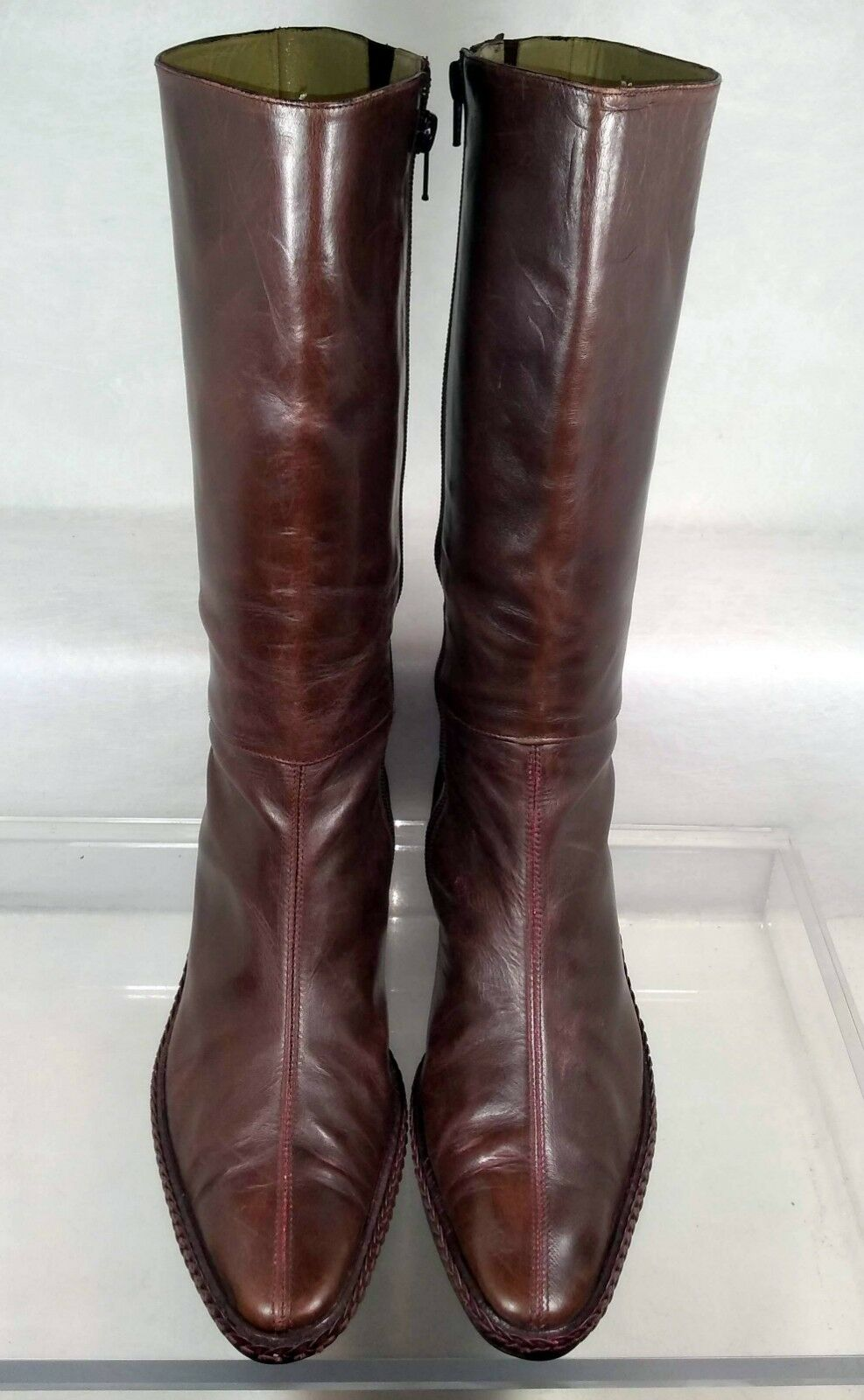 Coclico Brown Leather Mid Mid Mid Riding Boots Women US 8   38 f9070f