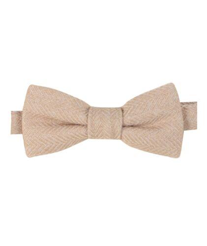 Homme Enfants Garçons correspondant Herringbone Tweed Dickie Bow Tie en Beige