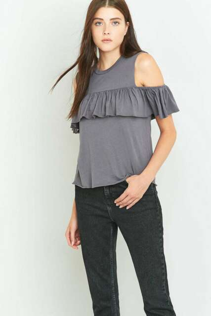 190130b97a96e Urban Outfitters Truly Madly Deeply Cold Shoulder Frill Tank Top - Grey S  RRP£29