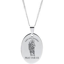 "Stainless Steel St. Jude Thaddeus Oval Prayer Pendant on 18"" Chain"