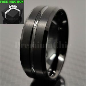 Black-Tungsten-Carbide-Band-Engagement-Ring-with-Black-Line-Men-039-s-Jewelry