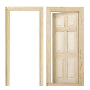 1-12-Dollhouse-Miniature-6-Panel-Interior-Wooden-Door-DIY-Wood-Color-B9E2