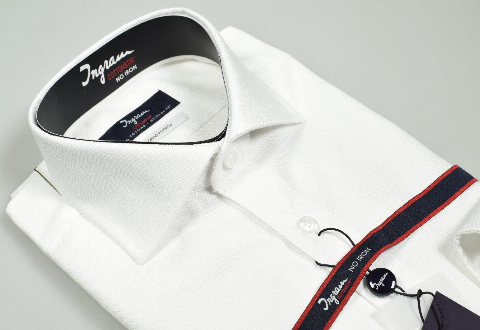 Camicia Ingram Bianca Cotone No Stiro Oxford Doppio Ritorto collo alla Francese
