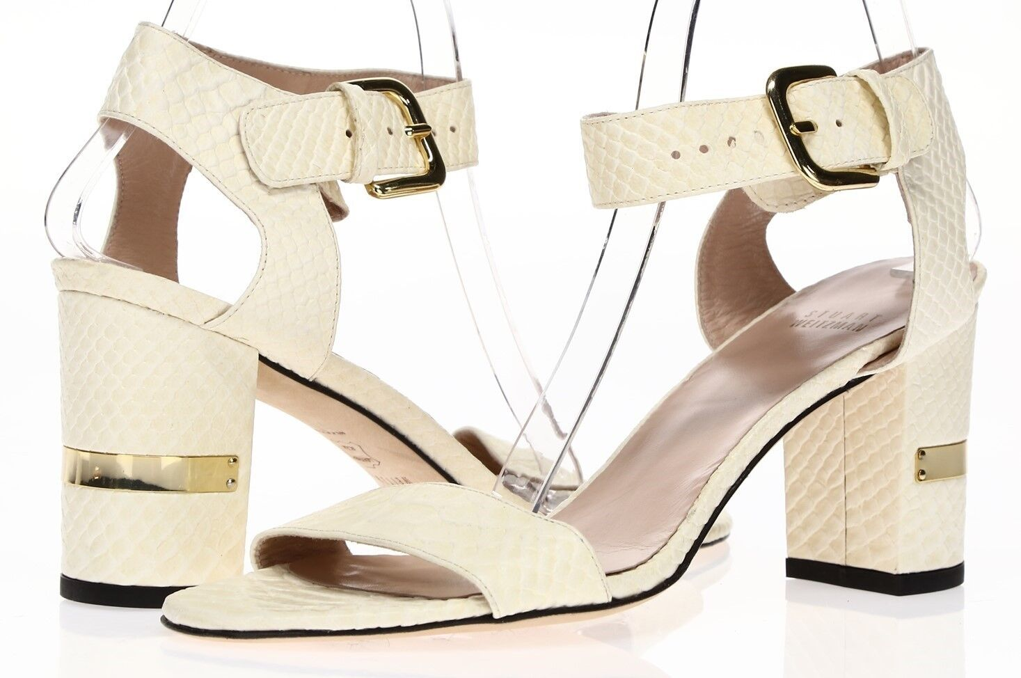 STUART WEITZMAN Donna Ivory Shake Print Leather Ankle Strap Sandals Sz 10 M