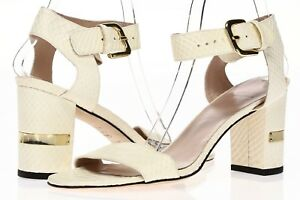 STUART-WEITZMAN-Womens-Ivory-Shake-Print-Leather-Ankle-Strap-Sandals-Sz-10-M