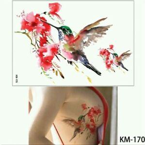Hummingbirds Temporary Tattoos Uk A5 Body Art Adults Tattoo Red