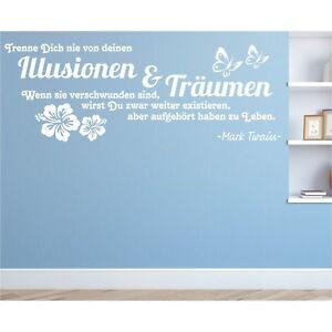 Wandtattoo-Spruch-Illusionen-Traeumen-Leben-Twain-Zitat-Wandaufkleber-Sticker