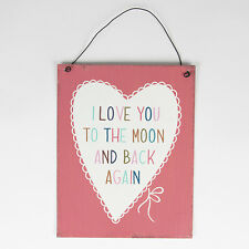 Sass and Belle Metal sign - I love you to the Moon and Back Vintage style Hanger