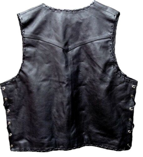Motorcycle Vest Braided Leather Buckle Motorbike Waistcoat Biker Rider Hand Vest