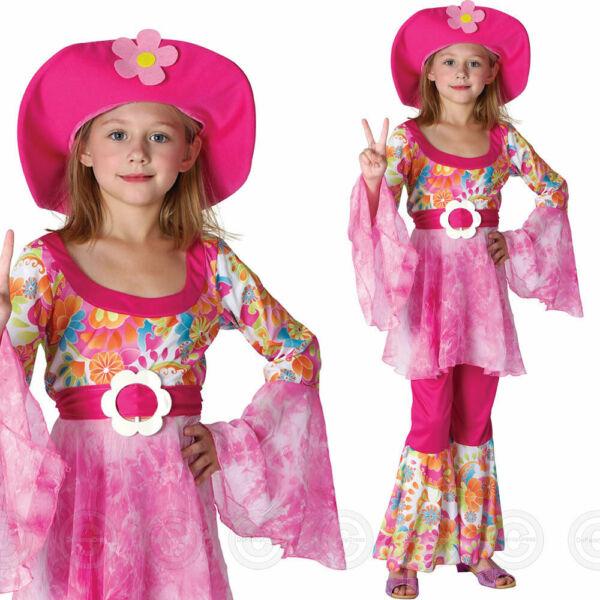 60s 70s Traje Childs Chicas Hippy Diva Hippie Elaborado Vestido Niños Traje De Woodstock-ver