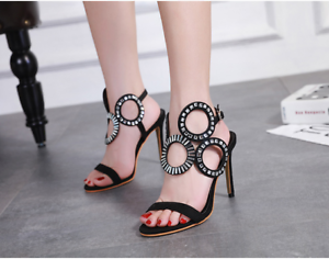 Fashion-Women-Peep-Toe-High-Heel-Strap-Buckle-Sandals-Stilettos-Party-Prom-Shoes