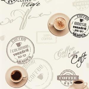 Dettagli su TAZZA DI CAFFE \'Carta Da Parati Beige biancastro Tipografia  Script cucina lavabile in vinile- mostra il titolo originale