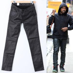 9c9702c860b77 New Mens Black Wax Coated Denim Jeans Leather Feel Slim Skinny Kanye ...