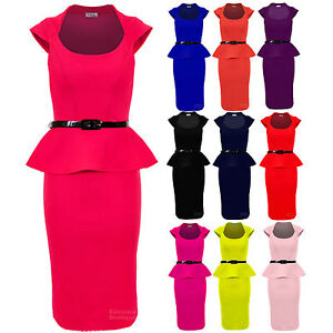 Ladies-Belted-Peplum-Knee-Length-Frill-Pencil-Skirt-Bodycon-Womens-smart-Dress