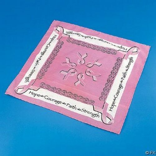Lot of 12 For 1 Price Breast Cancer Awareness Bandannas Pink Ribbon Doorag