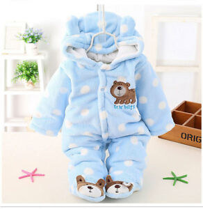 Newborn Baby Boy Girl Winter Warm Bear Romper Jumpsuit Bodysuit Hooded Clothes