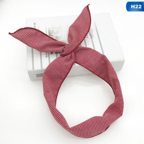 Damen Lovely Kaninchen Häschen Ohr Schleife Haarband Metall-Draht Stirnband