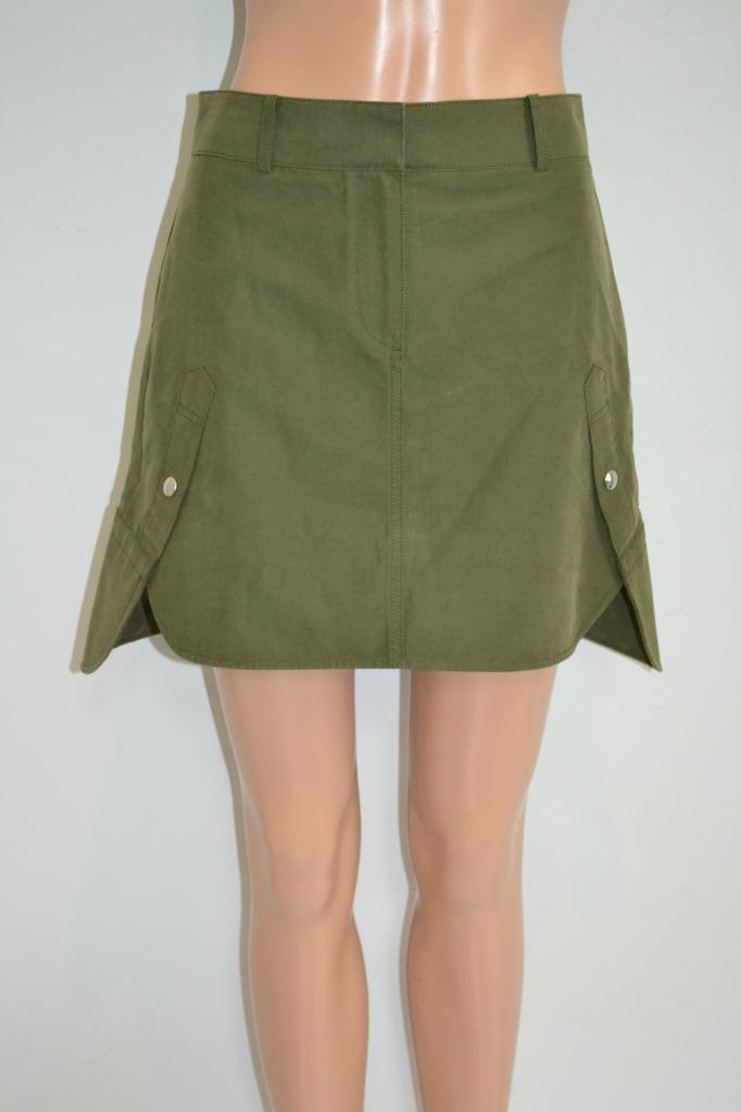 Alexander Wang Military Green Cotton Asymmetrical Mini Skirt, Size 0