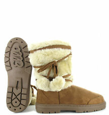 309916872 Ella womens ladies girls ankle flat faux fur lined boots warm winter sizes 3 -9