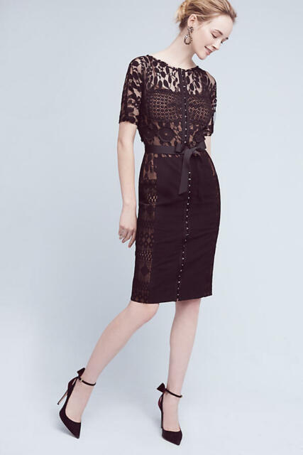 364451d0ddd9 NWT Anthropologie Carissima Sheath Dress by Byron Lars Black Lace size 12