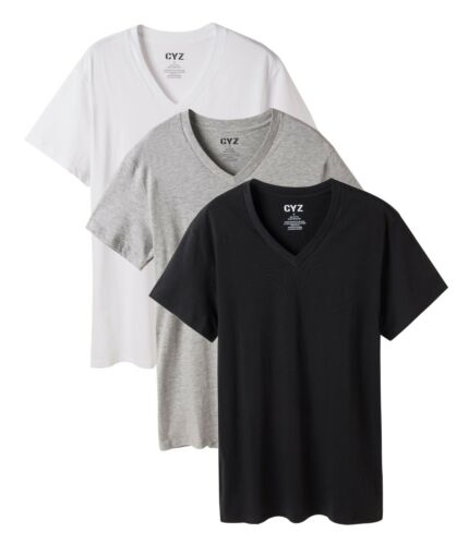 Men/'s Undershirt 3pk V neck shirts//cotton //T-shirt//black white grey