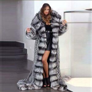 Women Whole Skin Natural Mink Fur Coat Hooded Genuine Fur Warm Jacket Outerwear