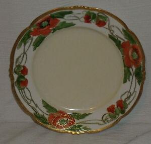 Habsburg-Austria-Dinner-Plate-8-5-034-Vtg-Hand-Painted-Orange-Poppy
