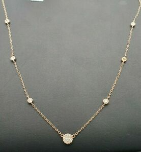 18Carat-Rose-Gold-Diamond-Round-Rubover-setting-Necklace-0-40-carat
