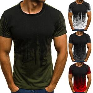 Sommer-Herren-Camouflage-Kurzarm-T-Shirt-Print-Shirt-Fitness-Freizeit-Tops-Tee