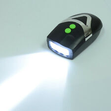 Black Bicycle 3 White LED Front Light Headlight Electronic Horn Bell Waterproof