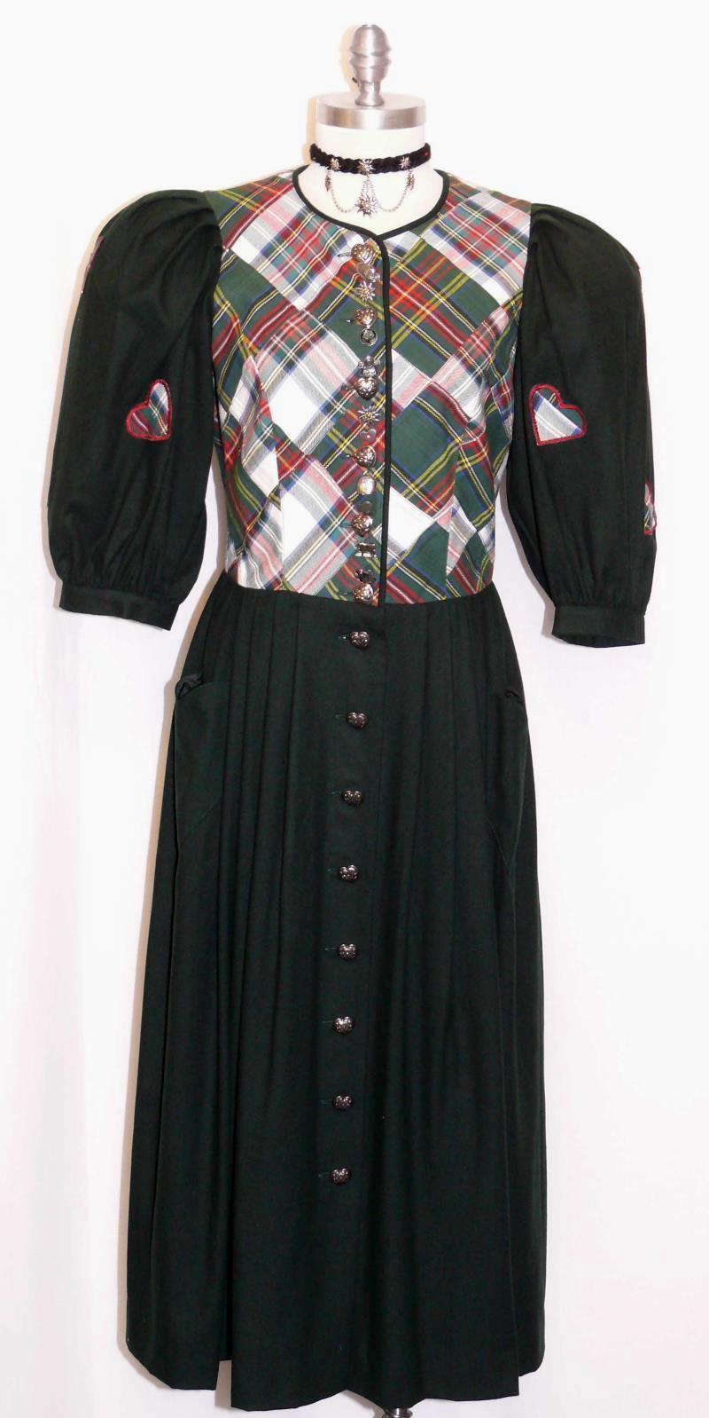 WOOL Winter Long DRESS Women AUSTRIA  LINED WARM Day SPORTALM Dirndl GREEN 8 S