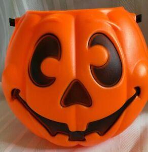 Vtg-Grand-Venture-Blow-Mold-Candy-Bucket-Pail-Halloween-Pumpkin-Jack-O-Lantern