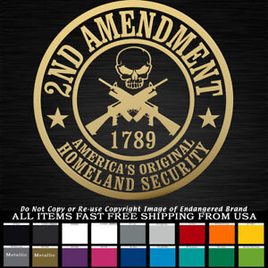 2nd-Amendment-Round-Badge-Skull-1789-NRA-truck-car-jeep-Decal-Sticker
