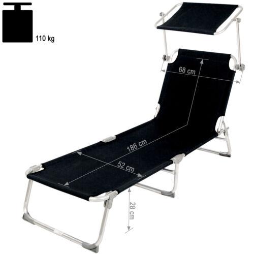 Alu Gartenliege Sonnenliege Liegestuhl Liege klappbar mit Dach 190cm schwarz
