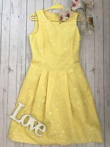 Max-Mara-UK-10-US-8-It-42-yellow-silk-blend-embroidered-summer-tea-party-dress