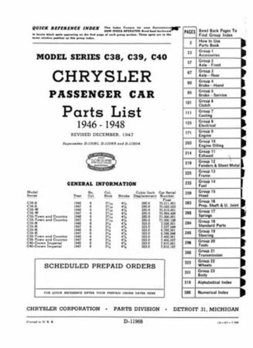 OEM Repair Maintenance Parts Book Loose Leaf for Chrysler All Models 1946-1948