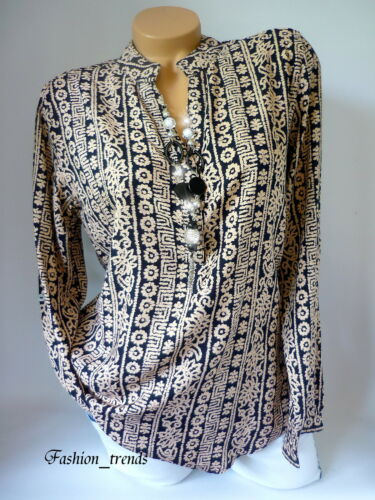 Damen Bluse Hemd Business Büro Shirt Tunika*Beige Schwarz*S-XXL 36 38 40 42 44