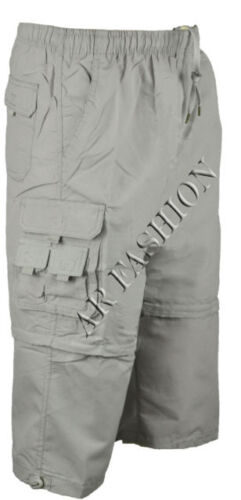 Da Uomo Vita Elasticizzata Lunghi Cargo Combat Zip Off Pantaloncini 8 TASCHE