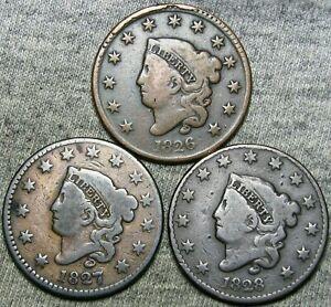 1826 1827 1828 Coronet Head Large Cent Penny  ---- Nice Lot ---- #J968