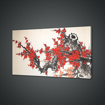 CHINESE CHERRY BLOSSOM WATERCOLOUR PAINT STYLE CANVAS PRINT WALL ART PICTURE